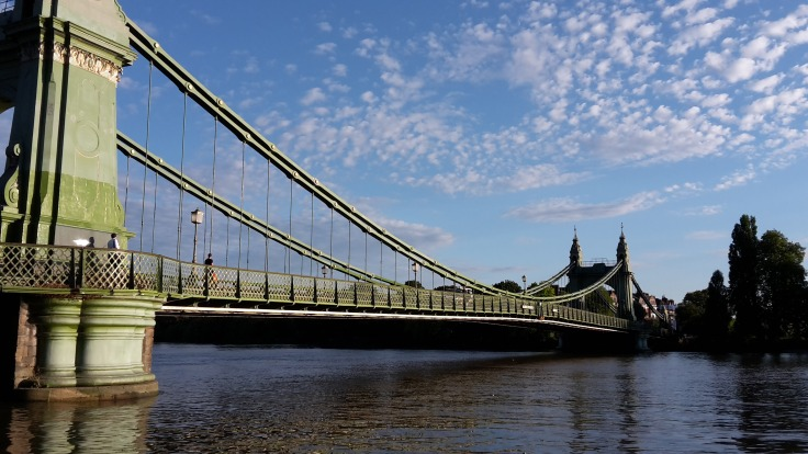 Hammersmith Bridge seen from Thames Path