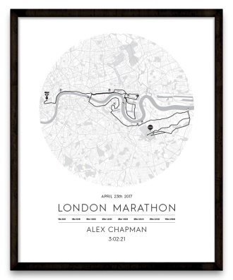 London-Marathon-Route-Map-Circle-Poster-framed